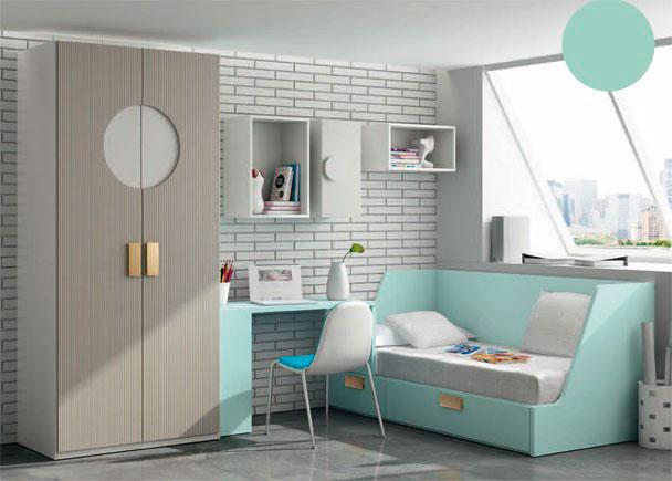 <p>Luminosa habitación infantil con armario de dos puertas con diseño de circulo rebajado.</p>