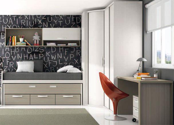 <p>Dormitorio juvenil con mueble compacto de dos camas (cama superior de 90 x 190 y cama inferior oculta de 90 x 180) con 3 cajones en su base.</p>