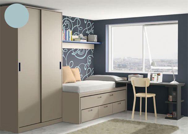 <p>Dormitorio juveni con Armario de 101,5 con 2 puertas correderas, Compacto 2 camas y 3 cajones en su base, Encimera y Estante de pared con trasera de 2 m.</p>