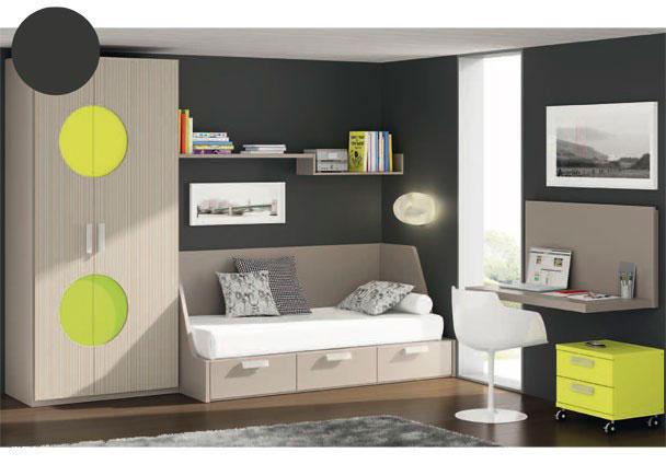 <p>Habitación juvenil con armario asimétrico de dos puertas decoradas con un rebaje de circulos en color verde de dos tonos diferentes.<br />Para la zona de descanso, hemos elegido la cama modelo divano (pensado para somier de 90 x 190), que incorpora 3 cajones en su base.<br />Sobre la pared hemos colocado un estante de soporte oculto junto a un módulo diáfano de 80 x 16 de altura, dando la sensación de continuidad entre los dos elementos.<br />La mesa de estudio es un ángulo recto que avanza verticalmente, protegiendo la pared y creando un mayor soporte a este moderno planteamiento.<br />Debajo de la mesa de trabajo, hemos situado una mesita con ruedas fe dos cajones de 50 cm de ancho.</p>