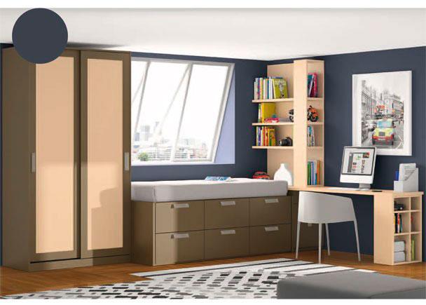 <p>Habitación juvenil con armario de 122.1 de ancho con dos puertas correderas.<br />Junto al armario se ha colocado un compacto de una sola cama y base con 6 grandes cajones contenedores.</p> <p></p> <p>A continuación del mueble compacto, se sitúa un práctico arcón extraíble sobre el que descansan la mesa de estudio de 250 de ancho x 53 de fondo y una estantería de 150,6 x 1m.<br />Para dar soporte al lado exterior de la mesa de trabajo, hemos elegido un soporte de mesa con estantes, que resulta muy útil como archivador.</p>