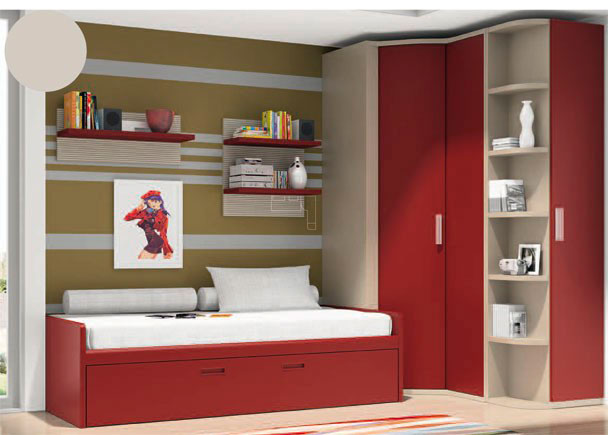 <p>Dormitorio juvenil con armario rincón de puerta convexa y puerta corredera, terminal zapatero de una puerta y estantes vistos y Cama nido con arrastre</p>