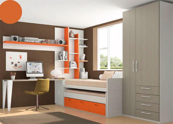 <p>Dormitorio infantil con armario asimétrico de dos puertas y 4 cajones vistos (de 101,5 x 226,4 de altura.)</p> <p></p> <p>La zona de descanso la constituye un compacto de dos camas, una superior de 90 x 190 y una inferior vista del 90 x 180. Este mueble compacto incorpora 3 cajones en sus base.</p> <p></p> <p>Junto a la cama, hemos situado un arcón extraíble, sobre el que descansan la mesa de trabajo (sobre recto de 240,4 x 53 de fondo) y una estantería sobreencimera de 150,5 de altura y panel trasero.<br />El otro extremo de la mesa, se apoya directamente sobre una pata lacada en blanco, y sobre la misma, hemos colgado un estante de 135 de largo con trasera .</p>