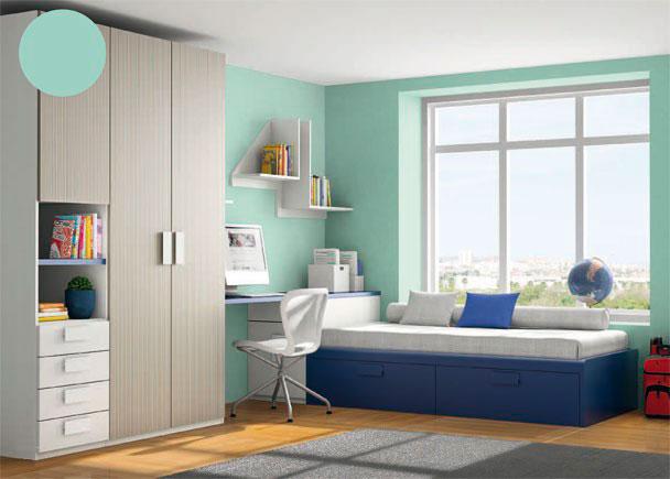 <p>Dormitorio juvenil con armario de 3 puertas, (uno de los cuerpos con puerta, hueco y cuatro cajones)</p>