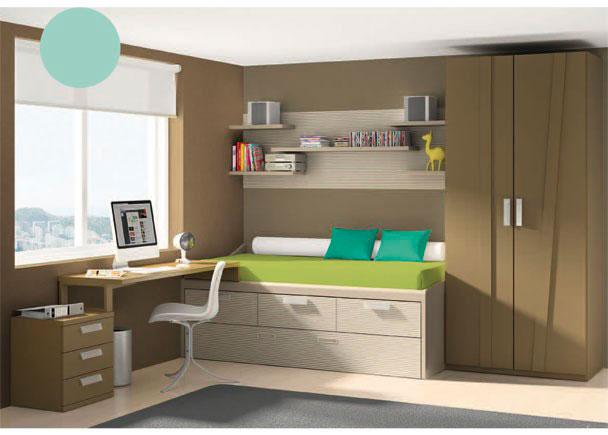 <p>Habitación juvenil con armario de 2 puertas de 102 de ancho x 226,4 de altura.<br />Junto al armario se sitúa la cama compacta con arrastre y 3 cajones en su base.<br />En la pared de la cama, hemos colgado unos estantes de distintas medidas, sobre una trasera de dos metros de largo.</p> <p></p> <p>La zona de estudio, se compone de una encimera recta de 150,3 x 53 cm de fondo, que se sujeta a la cama compacta gracias a un costado especial de 48 cm de fondo y 16,1 cm de altura.<br />La parte exterior de la mesa se apoya sobre un soporte metálico que se fija a una mesita de 3 cajones de 50 cm de ancho.<br /></p>