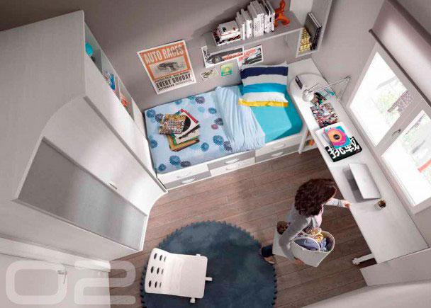 <p>Dormitorio juvenil con armario tipo Game chafl&aacute;n derecho o izquierdo y compacto de 6 cajones, arc&oacute;n, mesa y estantes de pared</p>