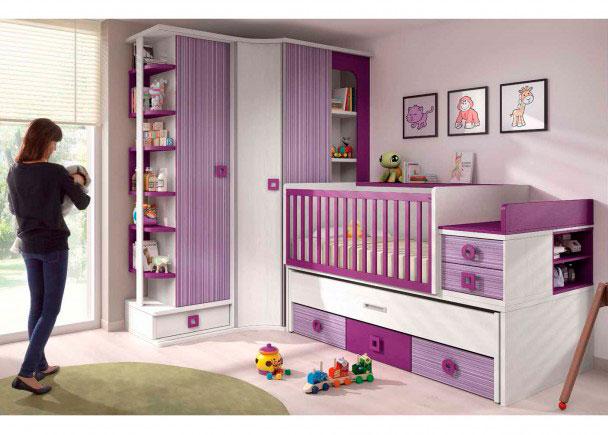 <p>Dormitorio para Bebé con cuna convertible tranformable en cama compacta, armario rinconero y librerías</p>