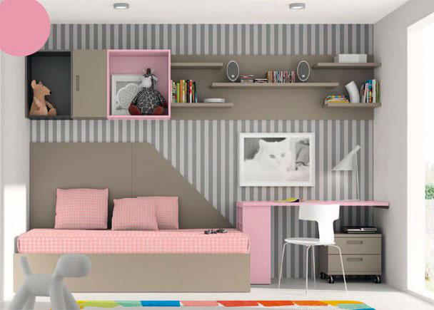 <p>Habitaci&oacute;n infantil equipada con cama de estructura en aro recto (para somier de 90 x 190).</p>