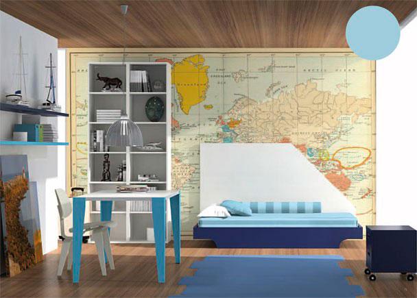 Dormitorio infantil equipado con cama aro modelo Góndola, mesita con ruedas, encimera de estudio, librería, estante de pared