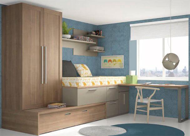 <p>Habitación infantil equipada con con armario de dos puertas de 187,7 x 1 m y 59,5 de fondo que descansa sobre base de cama nido con arrastre para somier de 90 x 190.</p>