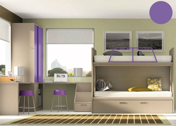 Habitación infantil con armario sobreencimera de dos puertas superiores y hueco y puerta en la parte inferior.La zona de descanso se compone de una liter