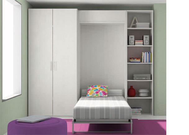 <p>Habitaci&oacute;n infantil con armario de dos puertas de 102 cm de ancho x 226,4 de altura. A continuaci&oacute;n se situa un mueble que contiene una cama abatible vertical para somier de 90 cm.&nbsp;<br />El amueblamiento de esta estancia, se completa con una estanter&iacute;a terminal con trasera y estantes vistos, de 50 cm de ancho y 226,4 de altura.<br />Sobre la cama se ha a&ntilde;adido un peque&ntilde;o m&oacute;dulo suplementario para la cama abatible, con el fin de igualar la altura de los dos muebles laterales.&nbsp;</p>
