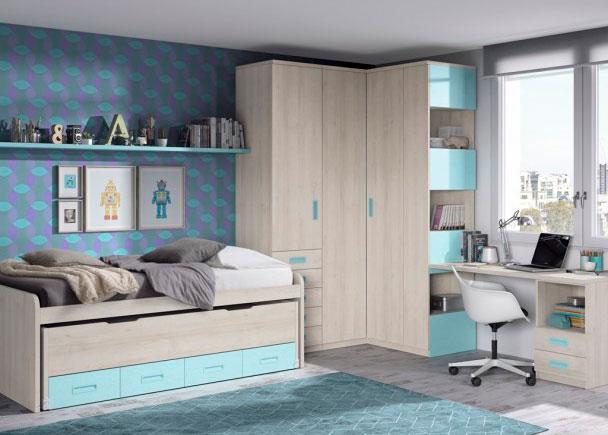 <p>Habitaci&oacute;n infantil con 2 camas y armariada angular con sinfonier de cajones vistos y terminal con estates. El ambiente se completa con un escritorio de sobre recto y un estante de pared.</p>