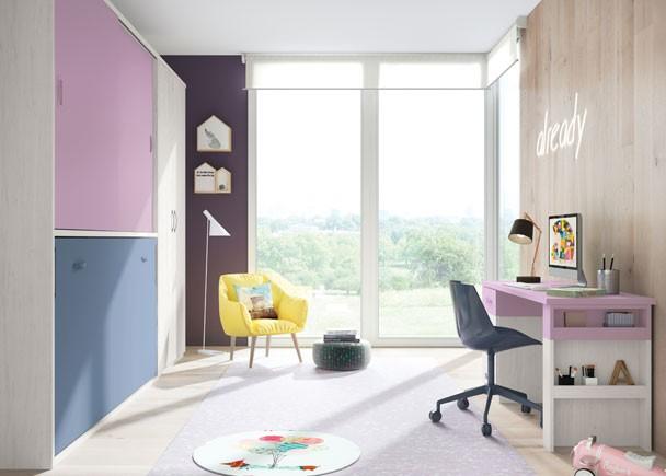 <p>Habitación Juvenil con cama abatible horizontal para colchón de 90 x 190, con armario superior de puertas correderas. La zona de estudio esta compuesta por un escritorio de sobre recto con base de 4 cajones bicolor y pie estante.</p>