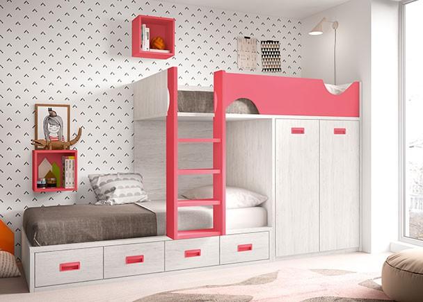 <p>Dormitorio infantil equipado con literas tipo tren. La cama superior se apoya sobre un m&oacute;dulo de armario block de 2 puertas y viene con la escalera y el quitamiedos integrados. La cama inferior es un compacto especial para este tipo de composiciones. Lleva tapa de tarima y base de 4 cajones.</p>