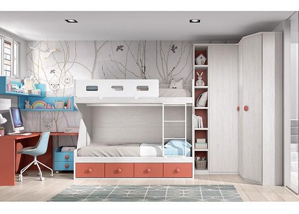 <p>Dormitorio infantil con litera de dos ba&ntilde;eras para colch&oacute;n de 90 x 190 con base de 4 cajones. El ambiente se completa con un armario rinc&oacute;n a escuadra de puertas lisas, un armario terminal en chafl&aacute;n y un armario con estantes y trasera en color destacado. A la izquierda y desarrollado en &aacute;ngulo, se ha planteado la zona de estudio, compuesta por un escritorio de 126 x 150 que apoya sobre tres costados ciegos en L.</p>