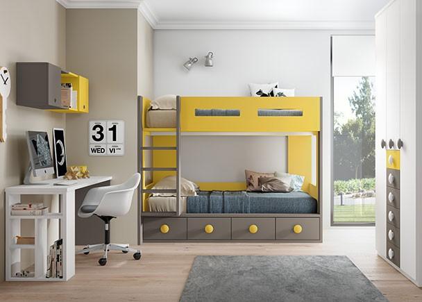 <p>Dormitorio infantil con Litera de dos camas y base de 4 cajones. El ambiente se completa con una zona de armarios situada en la pared perpendicular derecha y una zona estudio enfrente de estos compuesta por un escritorio recto de 206 cm sobre apoyo de pata estanter&iacute;a.</p>