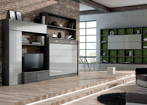 Composición de libreria mural para salon, compuesta a base de elementos costados de medida adaptable, estantes y modulos tipo cubo con puerta