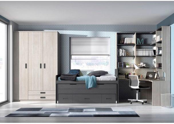 <p>Dormitorio junvenil equipado con armario de 3 puertas con cajones vistos. La cama es un compacto con deslizante y cajones. Cuenta con zona estudio con escritorio angular y amplia zona de librería.</p>