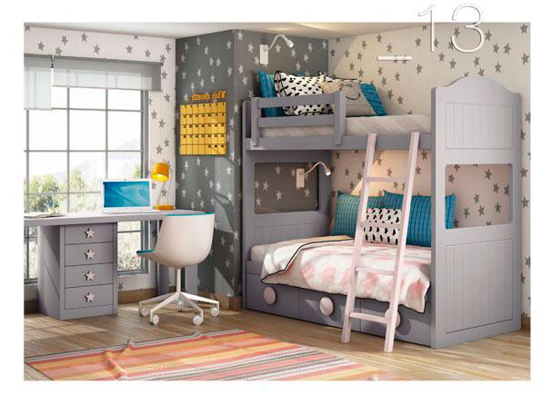 <p>Dormitorio infantil con litera colonial con 3 cajones con respaldos curvos. Disponible en anchos de colch&oacute;n de 90 y 105 y largos de 190 y 2 metros.</p>