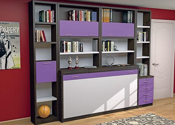 <p>Juvenil con abatible horizontal de 90 x 190 con librería superior. A ambos lados se han colocado unas librerías, una con cajones vistos y otra con puerta.</p>