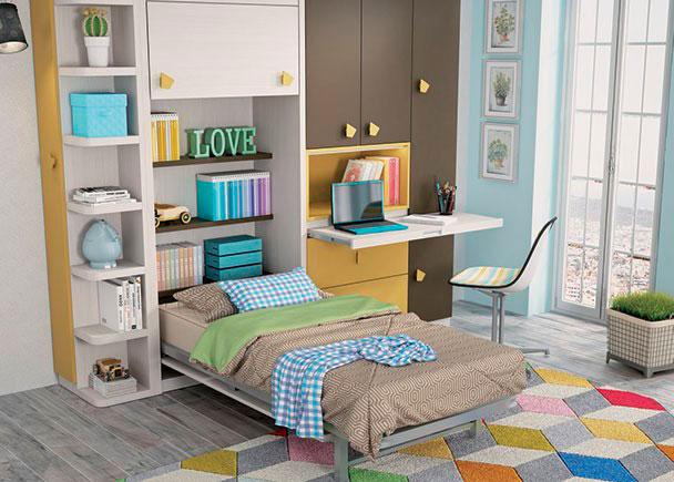 <p>Habitacion infantil con cama abatible vertical para colchon de 105 x 190. La habitacion cuenta con un armario de 3 puertas y dos contenedores con mesa extraible. El dormitorio se completa con un terminal con estants rematados en curva.</p>