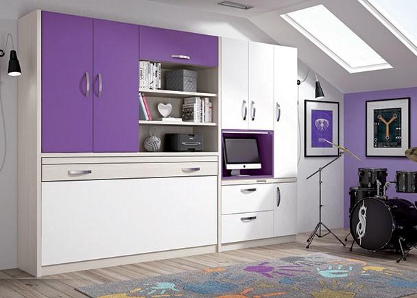 <p>Habitación juvenil con cama abatible horizontal de 90 x 190, armario y librería con trampilla superior.</p>