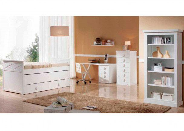 <p>Dormitorio infantil de gran calidad fabricado en DM lacado con cama compacta modelo ASPAS, 2 somieres y Kit de 2 cajones</p>