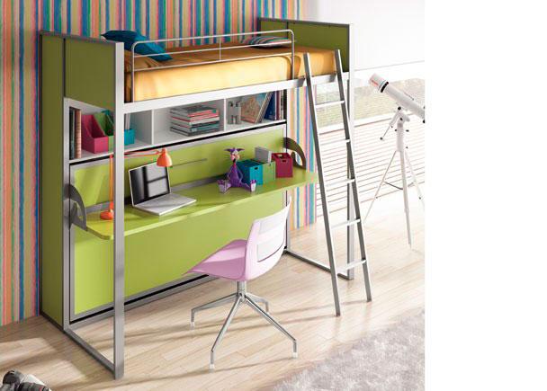 Habitación infantil con cama abatible horizontal fija con estante y mesa de 211,5 x 192,5 x 100,6 F, para somier de 90 x 190.La composición se ha terminado con dos costados laterales largos y dos cortos.