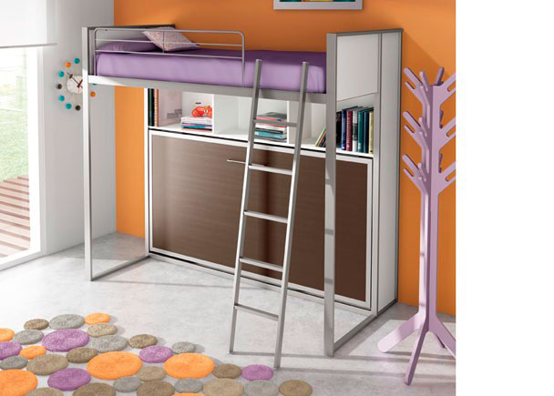 Dormitorio infantil con cama abatible horizontal fija con estante y mesa de 211,5 x 192,5 x 100,6 F, para somier de 90 x 190.La composición se ha terminado con dos costados laterales largos y dos cortos.