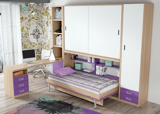 Juvenil con abatible horizontal, armario corredero y escritorio. A la derecha se ha colocado un armario de 50 cm de ancho con dos cajones vistos en la parte inf