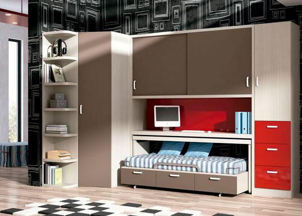 Dormitorio Juvenil con nido con ruedas de 3 cajones con escritorio. A la derecha cuenta con un armario de 50 cm con sinfonier de cajones vistos, y a la izquierd