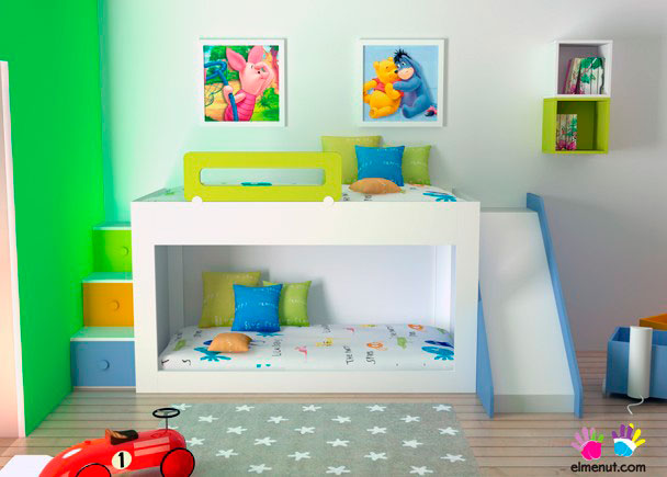 Dormitorio infantil en el que hemos intentado integrar: Espacio de juegos + zona de descanso + capacidad de almacenamiento.