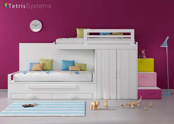 Habitación infantil tipo tren con escalera de cajones y compacto.Esta habitación se compone de los siguientes muebles:cama compacta con desplazabl