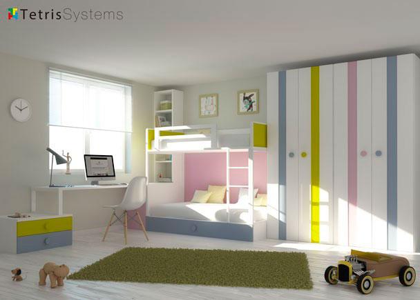 Habitación infantil para 3 niños con litera con cama nido, escritorio con arcón extraíble y 2 cajones, estantería y armario.