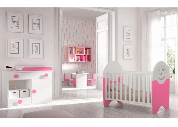 <p>Dormitorio Infantil con cuna + Comod&iacute;n cambiador + Armario de 2 puertas.</p>