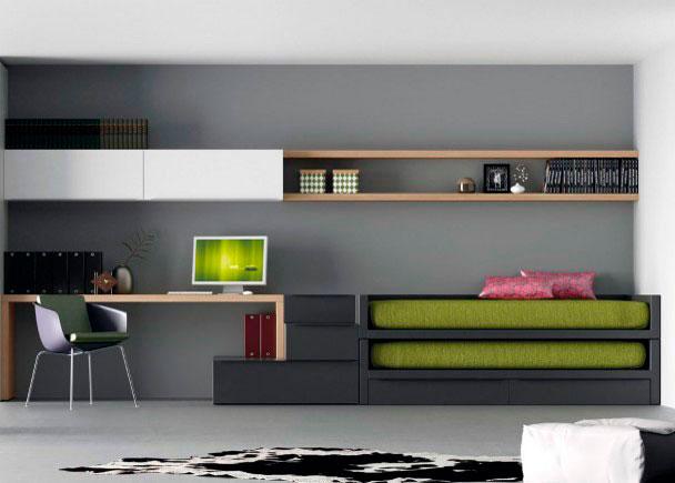 <p>Moderna y pr&aacute;ctica Habitaci&oacute;n juvenil de l&iacute;nea minimal&iacute;sta con dos camas.</p>