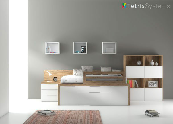 Dormitorio juvenil moderno con cama compacta de media altura, mesita de noche con 3 cajones, estantería modular interparetal configurable y de puertas y compartimentos .Atención:Disponemos de más posibilidades de configuración de almacenaje para la parte inferior.