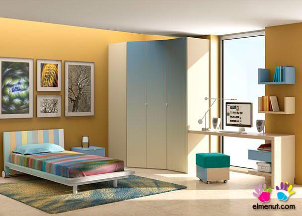 <p>Divertida habitaci&oacute;n juvenil equipada con una novedosa propuesta de muebles modulares en la que las combinaciones de color marcan un nuevo orden.<br /><br />Los elementos que aparecen en la presente imagen son los siguientes:<br />-Cama con bastidor de aro modelo IRIS para somier &nbsp;de 90 x 190. <br />&nbsp;Respaldo 113 x 75 h x 211 x 24 h<br />&nbsp;***NOTA***<br />&nbsp;Este modelo se fabrica tambi&eacute;n para somieres de 180 &nbsp;y 200 (Somier no inclu&iacute;do)&nbsp;<br />-M&oacute;dulo recto de 2 cajones con ruedas.<br />&nbsp;Medidas: 35 x 35 x 45&nbsp;<br />-Armario de rinc&oacute;n derecho modelo LINE con 2 &nbsp;puertas en chafl&aacute;n. Medidas: 130 x 93,5 x 236&nbsp;<br />-Armario recto de 1 puerta derecha modelo LINE. &nbsp;Medidas: 50 x 58 F x 236 h&nbsp;<br />-Encimera recta de 150 x 55 F&nbsp;<br />-Apoyo derecho para encimera de 1 caj&oacute;n con cajeado &nbsp;para rodapi&eacute;. Medidas: 71 x 45 x 55 F&nbsp;<br />-Escuadra para uni&oacute;n de encimera de 22 x 2 x 2&nbsp;<br /><br />OPCIONES CON INCREMENTO:&nbsp;<br />-Opci&oacute;n puerta degradada&nbsp;<br />-Cajonera de 80 cm con 3 cajones para interior de &nbsp;armario.&nbsp;<br />-Estante recto de 126 cm para interior de armario &nbsp;rinconero&nbsp;<br />-Luz interior para armarios.&nbsp;<br />-Estante de pared modelo LIBERTY en U de 50 x 25&nbsp;<br />-Pouff MAGIC de 40 x 40 x 40 (Opciones de color en &nbsp;Morado-Tango y Mandarina)&nbsp;</p>