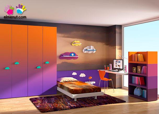 <p>Divertida habitación juvenil equipada con una novedosa propuesta de muebles modulares en la que las combinaciones de color marcan un nuevo orden.<br /><br />Los elementos que aparecen en la presente imagen son los siguientes:<br /><br />-Armario de 4 Puertas modelo LINE.<br />Medidas: 236 h x 200 x 58 F<br />-Panel Recto de 75 h x 250 de largo<br />-Aro Cama Simple para somier de 90 x 190.<br />Medidas: 196 x 99 F x 25 h<br />-Mesita modelo NUBE. Medidas: 29 x 45 x 35<br />-Encimera Recta para mesa escritorio.<br />Medidas: 165 x 41 F x 4 cm de espesor<br />-Opción esquina redondeada (Radio 10 cm)<br />-Escuadra para unión de encimera de 22 x 2 x 2<br />-Librería APILA inferior de 90 de ancho x 41 F x 37 h<br />-Librería APILA intermedia de 90 de ancho x 41 F x 37 h</p>