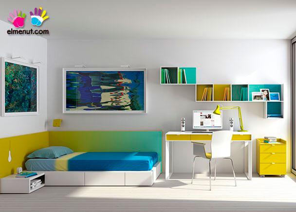 <p>Dormitorio juvenil equipado con una novedosa propuesta de muebles modulares en el que las combinaciones de color marcan un nuevo orden.<br /><br />Los elementos que aparecen en la presente imagen son los siguientes:<br />-Cama tipo Tarima Modelo Soft Izquierda para somier de 90 x 190. Dispone de4 cajones desiguales. Medidas: 200 x 104 F (Fondo piecero) x 150 F (Cajón cabecero) x 20 h (no necesita somier)<br />-Panel Recto de 75 h x 150 de largo<br />-Panel Recto Degradado de 75 h x 195 de largo<br />-Escritorio DESY con 3 cajones. <br />Medidas: 160 x 65 F<br />-Módulo Recto de 3 Cajones con ruedas.<br />Medidas: 57 h x 45 x 45</p>