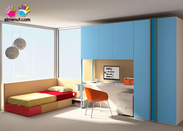 <p>Habitación juvenil equipada con una nueva serie de muebles modulares en las que el color es el protagonista.<br /><br />Los elementos que aparecen en la presente imagen son los siguientes:<br />-Cama tipo Tarima Modelo Soft Derecha para somier de 90 x 200. Dispone de 4 cajones desiguales.<br />Medidas: 210 x 104 F (Fondo piecero) x 150 F (Cajón cabecero) x 20 h (no necesita somier)<br />-Puente Recto de 3 puertas con 2 estantes interiores. (Incluye viga de refuerzo)<br />Medidas: 166 x 94 h x 58 F<br />(dos puertas de 60,5 + Puerta central de 44 cm)<br />-Apoyo Izquierdo para Puente de 89 cm h.<br />(Con rebaje salva rodapie. Siempre en Hierro Lacado)<br />Medidas: 236 h x 58 F x 2 cm de ancho<br />-Armario de 2 puertas modelo HALEY.<br />Medidas: 100 x 58 F x 236 h<br />(Interior siempre en acabado color Polar)<br />-Escritorio modelo PLUS con panel inferior.<br />Medidas: 165 x 55 F</p>