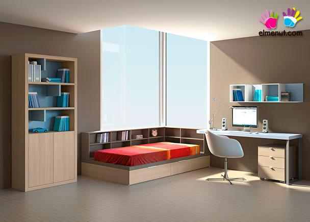 <p>Dormitorio juvenil de linea minimalista equipado con un programa modular de acabados personalizables.<br /><br />Los elementos que aparecen en la presente imagen son los siguientes:<br />-Librería modelo CLAVE con 2 puertas bajas y dos v estantes (3 huecos).<br />Medidas: 198 h x 98 x 41 F<br />-Cama modelo PLAY Derecha para colchón de 180 x 90 con 3 Librerías Bajas (Cabecero-Respaldo) y Base con 3 contenedores (no necesita somier superior). Medidas: 210 x 120 F x 28 h (Base nido) x 75 h Total.<br />-Encimera Recta para mesa escritorio. Medidas: 165 x 41 F x 4 cm de espesor<br />-Opción esquina redondeada (Radio 10 cm)<br />-Apoyo metálico para encimera de 39 F x 71 h x 9 de ancho<br />-Escuadra para unión de encimera de 22 x 2 x 2</p>