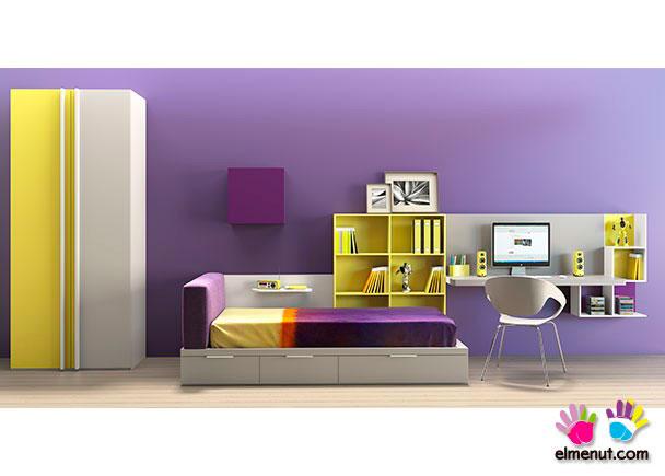 <p>Dormitorio infantil de gran simplicidad en sus líneas, con el color como gran protagonista.</p>
