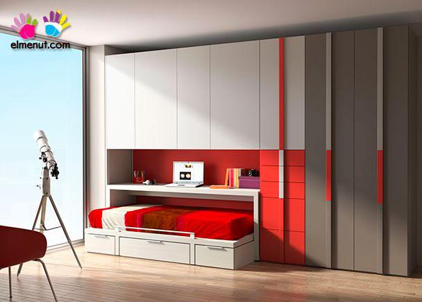 Habitación infantil en la que la simplicidad de lineas y el color son los grandes protagonistas.Los elementos que aparecen en la presente imagen son los