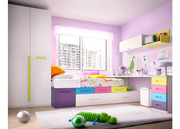 <p>Dormitorio Juvenil con Cajones apilables + Cama nido + Escritorio + Armario Recto de 2 puertas.</p>