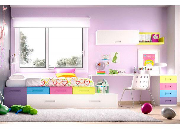 <p>Habitación Juvenil con Cajones apilables + Cama nido + Escritorio recto con 4 cajones.</p>