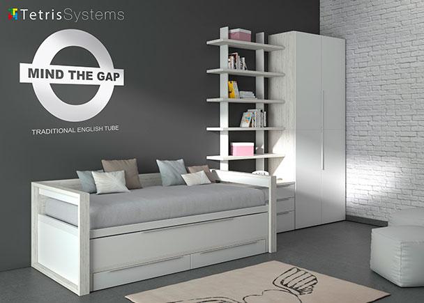 <p>Dormitorio juvenil moderno con cama compacta deslizante con brazos de madera y cajones, c&oacute;moda con 3 cajones, estanter&iacute;a modular regulable y armario.</p>