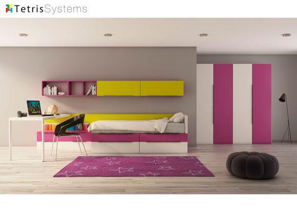 <p>Dormitorio juvenil con cama compacta con 4 cajones, mesa y armario de 200 cm. de cuatro puertas. M&oacute;dulos a&eacute;reos de almacenaje con y sin puerta.</p>