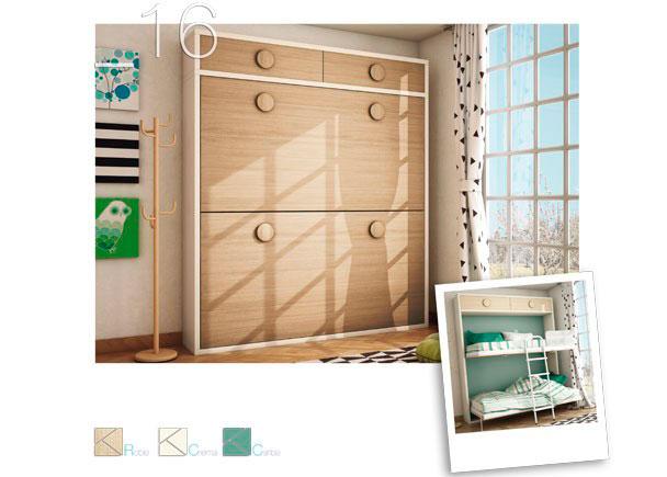 Dormitorio infantil equipado con literas abatibles para colchón de 90 x 190 con altillo y puertas en roble.